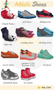different types of shoes in english list of shoes with pictures