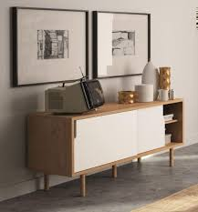 White Tv Cabinet With Doors Temahome Dann Modern Compact Tv Cabinet In White Oak Finish