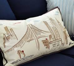 New York City Duvet Cover New York City Embroidered Lumbar Pillow Cover Pottery Barn