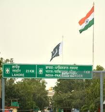 Flag Of Inida Pakistan Hoisted Flag On 400 Feet High Pole At Wagah Border On Its