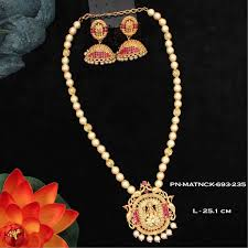 pearl ruby necklace images Matt finish necklace set with pearl ruby stones with laxmi jpg