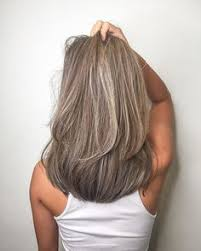 blonde streaks for greying hair women hairstyle medium covering gray hair gray hair and gray