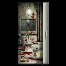 halloween cover photo csi bloody horror creepy crapper bathroom door cover psycho