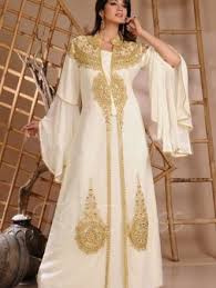 abaya wedding dress golden embroidery trumpet sleeve abaya wedding dress