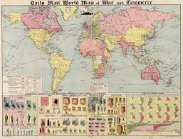 World Map Pinboard by Daily Mail World Map Of War And Commerce From 1917 World Maps