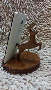 tablette de bureau cerf porte téléphone en bois support téléphone en bois support de