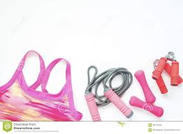 pink flat color flat lay of sport bra and sport equipments in pink color healthy