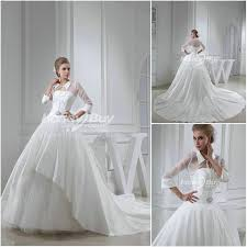 styles chapel train satin wedding dress bridal gown with sleeves