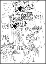 sweary coloring page mature content flying monkey coloring page