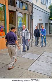 Blind Man Cane Young Blind Man With Cane Using Assistive Technology Stock Photo