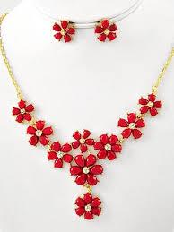 red necklace earring set images Vintage inspired red rhinestone flower y necklace earrings set jpg