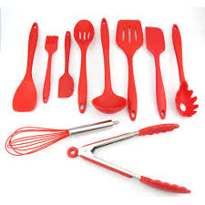 Red Kitchen Utensil Set - silicone kitchen utensils 10 pc set u2013 pure deals 2 go