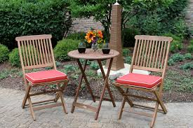 round bistro table outdoor 3pc round bistro set with chairs and red cushions