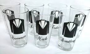 groomsmen gift idea 7 tux pint glasses for wedding party