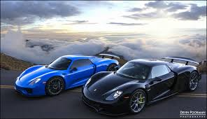 porsche 918 spyder black pair of 2015 porsche 918 spyders at canyon blue and black color