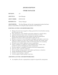 Manager Job Description Resume by Job Store Manager Job Description Resume