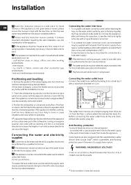 Hotpoint Dishwasher Manual Installation Positioning And Levelling Connecting The Water And