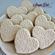 wedding cookies sugar dot cookies white on white heart sugar cookies