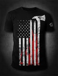 Black American Flag Shirt American Flag Firefighter Shirt American Fire Apparel