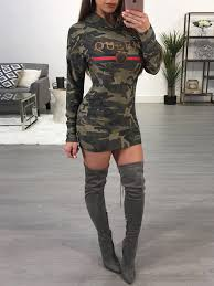 fashion queen camouflage print casual hoodie dress online