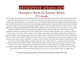 descriptive words for winter descriptive words list of