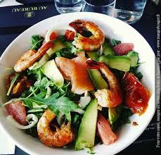 restaurant au bureau rouen salade gambas agrumes au bureau rouen