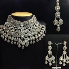 silver jewellery necklace sets images Necklace set heavy chocker jewelry set in silver color online jpg