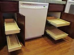 Kitchen Cabinet Slide Out Shelves Dark Brown Varnished Teak Wood Pull Out Kitchen Cabinet Shelves