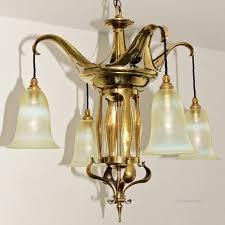 Art Nouveau Lighting Chandelier Brass U0026 Vaseline Glass Antique Art Nouveau Arts And Crafts Ceiling