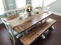 Farm House Table Excellent Stylish Farmhouse Kitchen Table With Bench Best 25