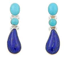 turquoise drop earrings king turquoise and lapis drop sterling silver earrings