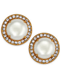 button earrings kate spade new york gold tone pavé imitation pearl button