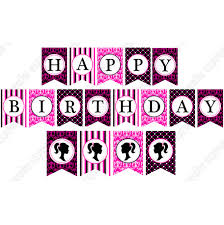 barbie inspired printable happy birthday banner
