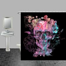 Skull And Crossbones Shower Curtain Skull Shower Curtain Black Purple Swirl Floral By Folkandfunky