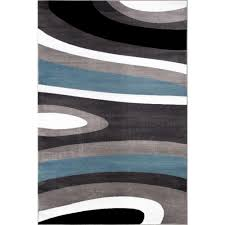 3 X 5 Area Rug by World Rug Gallery Abstract Contemporary Modern Blue 3 Ft 3 In X