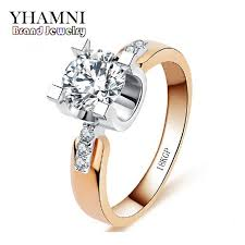 wedding ring brand 2018 yhamni brand jewelry 18kgp st ring gold set 1 carat