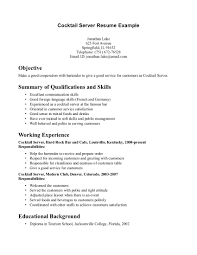 Example Summary Resume by Sample Resume For Cocktail Waitress Job Position