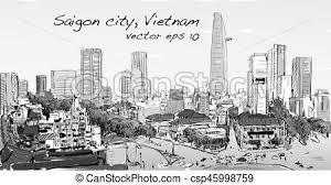 vectors illustration of sketch cityscape of ho chi minh city show