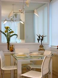 simple dining room wall decor with wide mirror facing modern