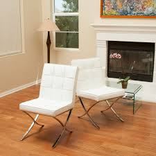 Modern Leather Dining Chairs Pandora Modern Design White Leather Dining Chairs Set Of 2 U2013 Gdf
