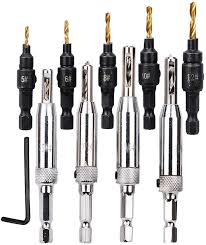 kitchen cabinet door hinge drill bit 4pcs self centering hinge drill bits for door cabinet 5pcs hss woodworking countersink drill bit set with free wrench for pilot holes