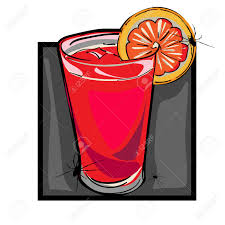 hand drawn clip art illustration of a bloody mary drink with