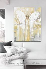original home decor original angel painting guardian angel gold grey home decor large