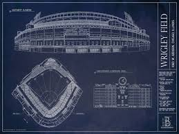 wrigley field blueprint style poster chicago cubs ballpark wrigley field chicago cubs updated