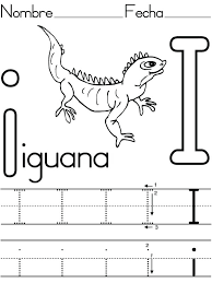 iguana coloring pages print learning to write letter i for page