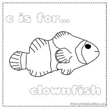 c is for clownfish coloring page printables for kids u2013 free word