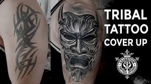 tribal tattoo cover up japanese oni mask one session at