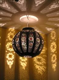 Coloured Chandelier by Large Pierced Globe Lamp With Coloured Glass Maroque