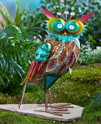 colorful metallic bird flamingo peacock rooster owl garden statue
