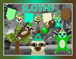 in party supplies printable sloth party supplies sloth birthday decorations